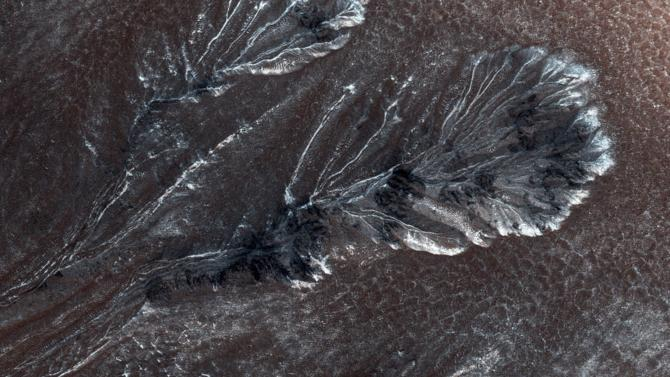 NASA's Mars Reconnaissance Orbiter photo of frost on Mars taken by the High Resolution Imaging Science Experiment (HiRISE) camera