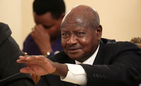 Uganda's President Museveni addresses a news conference during his official visit to Ethiopia's capital Addis Ababa