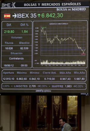 A broker walks past the main screen at the Stock Exchange in Madrid Monday June 18, 2012.  Spanish markets breathed a sigh of relief Monday with stocks opening higher and the country's borrowing costs dipping slightly after pro-bailout parties won the elections in Greece. Spain is a focus of fears it might be the next eurozone country to need a full bailout. The government is to announce this week how much of a euro100 billion fund it will tap to rescue banks that got burned when a real estate bubble popped. (AP Photo/Paul White)