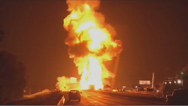 Raw Video: Explosion on La. interstate