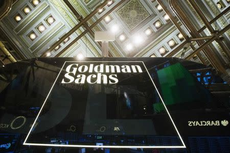 Goldman Sachs sign is seen above floor of the New York Stock Exchange