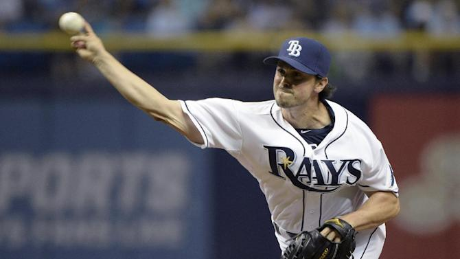 Tampa Bay Rays pitcher Brandon Gomes throws a delivers to home plate during the fifth inning of a baseball game against the Toronto Blue Jays in St. Petersburg, Fla., Saturday, April 25, 2015.(AP Photo/Phelan M. Ebenhack)