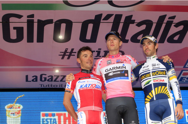 Giro Winner Ryder Hesjedal Of Canada (C), Second-placed Joaquim Rodriguez Of Spain (L) And Thomas De Gendt Of Belgium ( AFP/Getty Images