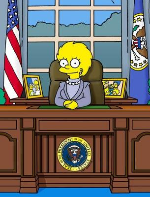 Lisa (voiced by Yeardley Smith) becomes President in the episode 'Bart to the Future.' Fox's The Simpsons