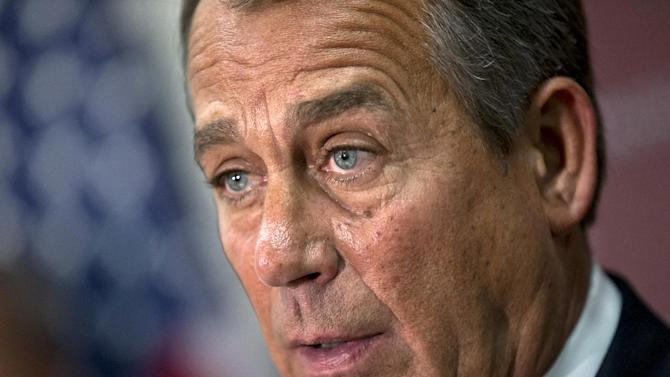 House Speaker John Boehner of Ohio speaks to reporters on Capitol Hill in Washington, Wednesday, Dec. 5, 2012, following a closed-door GOP strategy session. (AP Photo/J. Scott Applewhite)