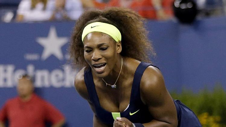 Serena Williams reacts during a match against Coco Vandeweghe at the U.S. Open tennis tournament, Tuesday, Aug. 28, 2012, in New York. Williams won 6-1, 6-1. (AP Photo/Darron Cummings)