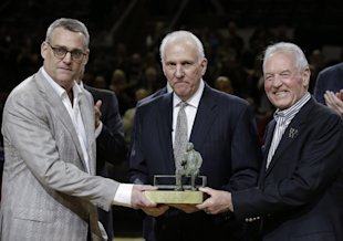 Spurs GM R.C. Buford, Popovich and owner Peter Holt delivered another championship to San Antonio. (AP)