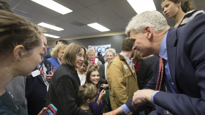 Republican senatorial candidate U.S. Rep. Cassidy greets supporters during a rally in Lafayette