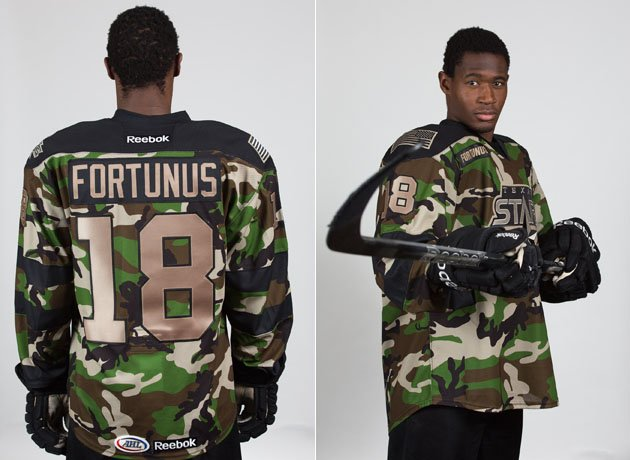 Texas Stars hockey team celebrates Military Appreciation Weekend with camouflage jerseys (Photos)