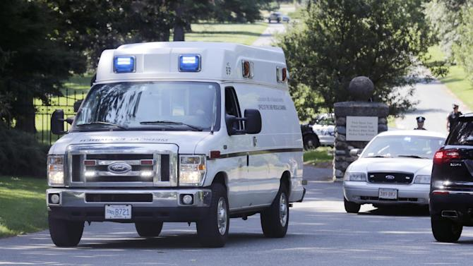 A Commonwealth of Massachusetts medical examiner's van leaves the Puritan Lawn Memorial Park in Peabody, Mass., after exhuming Albert DeSalvo's body from a grave to confirm a forensic link to the Boston Strangler case, Friday, July 12, 2013. DeSalvo was the man who first confessed to being the Boston Strangler, but later recanted before his stabbing death in prison as he served a life sentence for other crimes. (AP Photo/Charles Krupa)