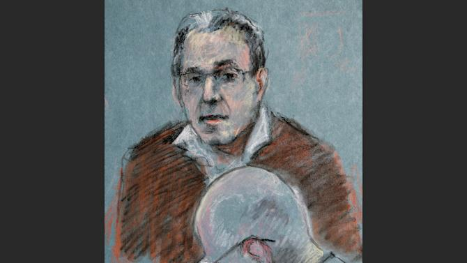 "This courtroom sketch depicts Stephen ""The Rifleman"" Flemmi testifying as defendant James ""Whitey"" Bulger listens, below, during his murder and racketeering trial at U.S. District Court in Boston, Thursday, July 18, 2013. Bulger and his former partner faced each other for the first time in nearly two decades Thursday when Flemmi took the stand at Bulger's trial and told of their years as secret FBI informants while they ran a feared gang in South Boston. (AP Photo/Margaret Small)"