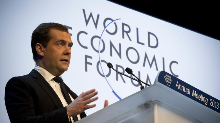 Russian Prime Minister Dmitry Medvedev speaks at the 43rd Annual Meeting of the World Economic Forum, WEF, in Davos, Switzerland, Wednesday, Jan. 23, 2013.  (AP Photo/Anja Niedringhaus)