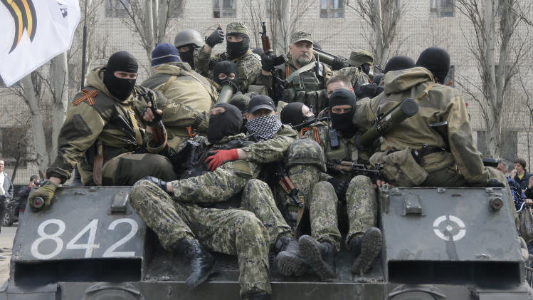 Pro-Russian insurgents seize armored vehicles