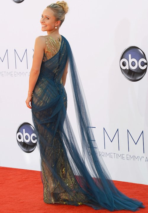 Emmys 2012: Hayden Panettiere wears a draped Grecian number.