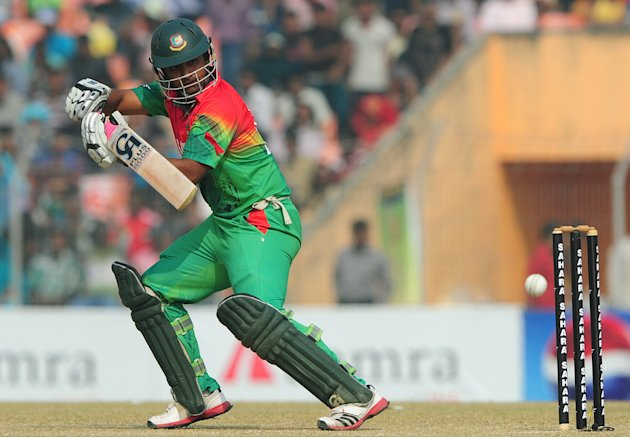 Bangladesh cricketer Tamim Iqbal plays a shot during the first one day international cricket match between Bangladesh and The West Indies at The Sheikh Abu Naser Stadium in Khulna on November 30, 2012