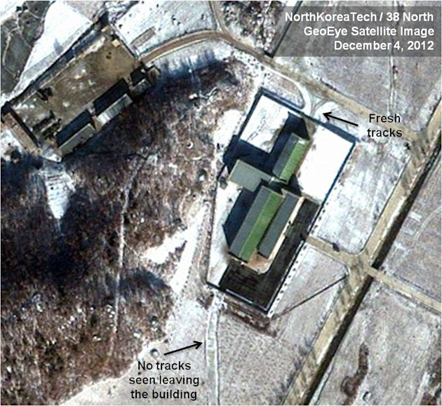 This Dec. 4, 2012 satellite image taken by GeoEye  and annotated and distributed by North Korea Tech and 38 North shows snow covering the Sohae launching station in Tongchang-ri, North Korea, includin