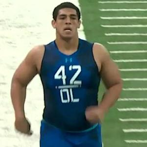 When will Stanford offensive tackle Andrus Peat go in the draft?
