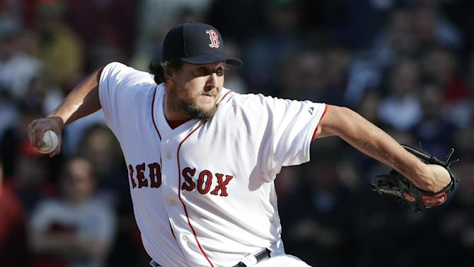 FILE - In this April 8, 2013, file photo, Boston Red Sox relief pitcher Joel Hanrahan delivers to the Baltimore Orioles during a baseball game at Fenway Park in Boston. Hanrahan is expected to be sidelined at least two months and is scheduled to visit Dr. James Andrews for an examination that could determine whether he will need surgery. Boston transferred Hanrahan from the 15- to the 60-day disabled list Thursday, May 9, 2013, with what the Red Sox said was a strained right forearm. (AP Photo/Elise Amendola, File)