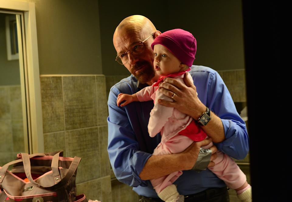 "This image released by AMC shows Walter White, played by Bryan Cranston, after he abducted his daughter Holly in a scene from the season five of ""Breaking Bad."" The series finale of the popular drama series airs on Sunday, Sept. 29. (AP Photo/AMC, Ursula Coyote)"