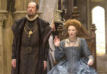 Geoffrey Rush as Sir Francis Walsingham and Cate Blanchett as Queen Elizabeth I in Universal Pictures' Elizabeth: The Golden Age