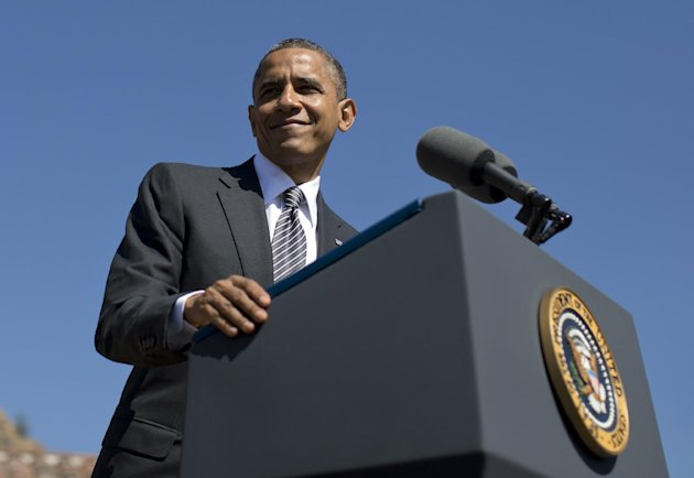 President Barack Obama speaks at the Cesar E. Chavez National Monument, Monday, Oct. 8, 2012, in Keene, Calif. (AP Photo/Carolyn Kaster)