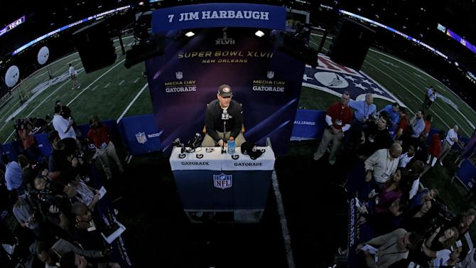 San Francisco 49ers head coach Jim Harbaugh during media day for the NFL Super Bowl XLVII football game Tuesday, Jan. 29, 2013, in New Orleans. (AP Photo/Charlie Riedel)