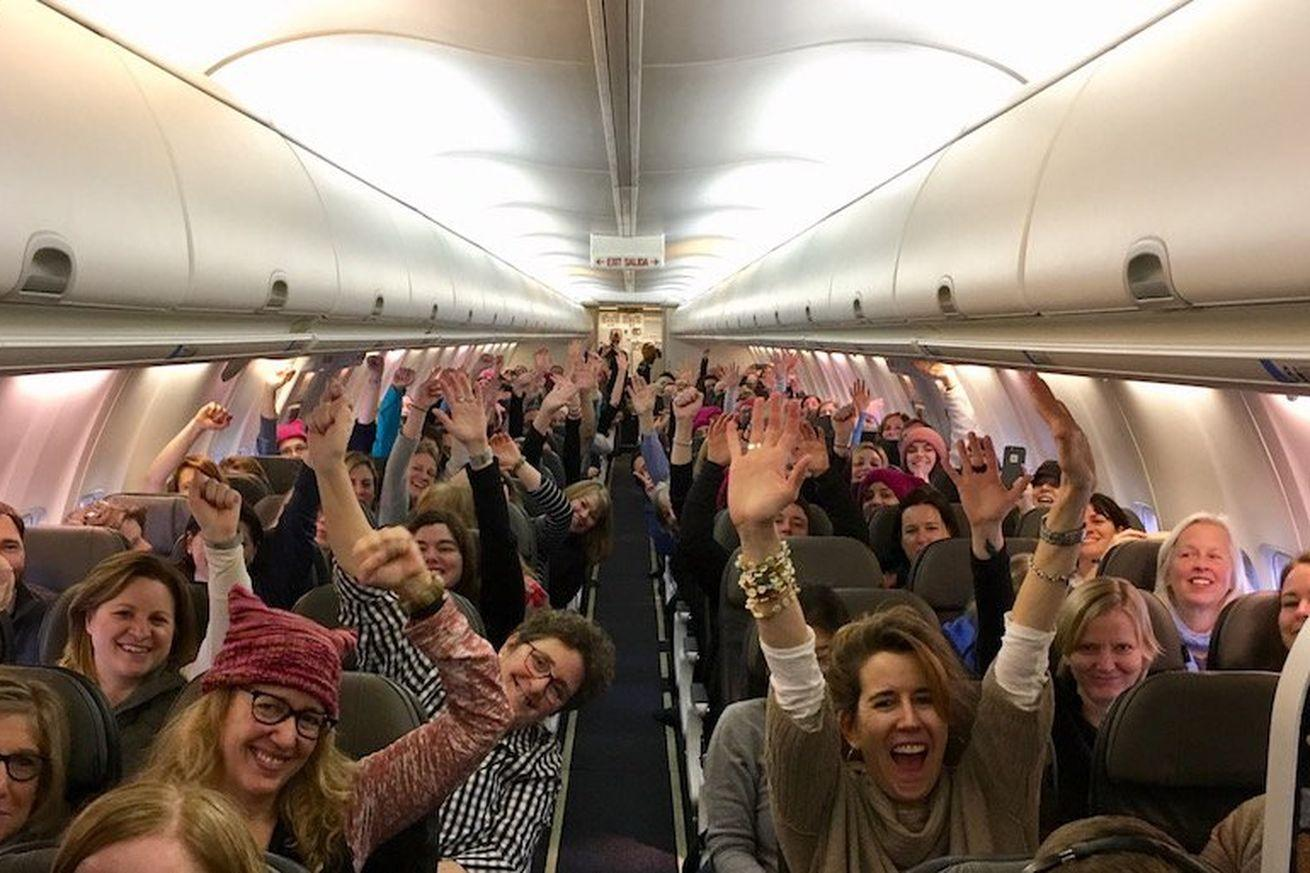 Airplanes full of women are flying into Washington, DC, to protest President Trump