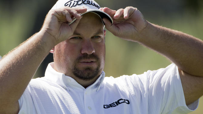 Brendon De Jonge lines up his tee shot on the eighth hole during the third round of the Justin Timberlake Shriners Hospitals for Children Open golf tournament, Saturday, Oct. 6, 2012, in Las Vegas. (AP Photo/Julie Jacobson)