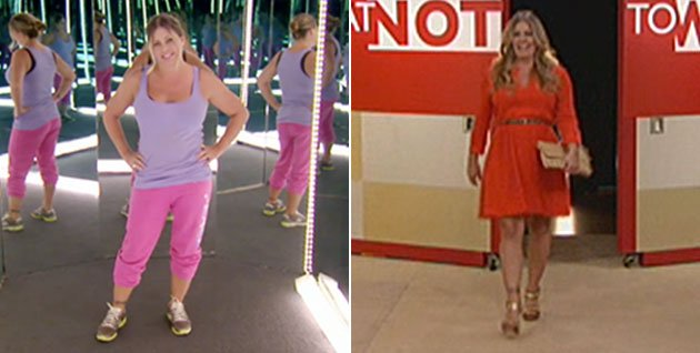 The &quot;Baywatch&quot; star before, L; and out of sweats and back into dating, R
