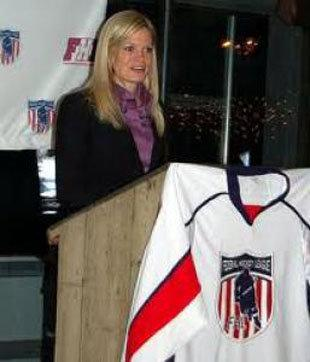 Nicole Kirnan became the first woman to coach a pro hockey team when the owner-president stepped behind bench of Federal League's 1000 Islands Privateers