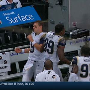 St. Louis Rams tight end Jared Cook shoves quarterback Austin Davis in loss to Dallas Cowboys