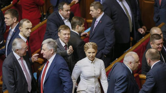 Former Ukrainian Prime Minister and newly elected parliamentary deputy Tymoshenko arrives to the first session of a new Ukrainian parliament in Kiev
