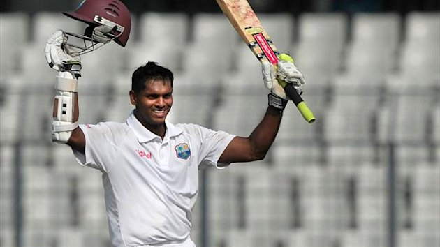 West Indies cricketer Shivnarine Chanderpaul acknowledge the crowd after scoring a double century during the second day of the first Test match between Bangladesh and West Indies at the Sher-e-Bangla National Cricket Stadium in Dhaka (AFP)
