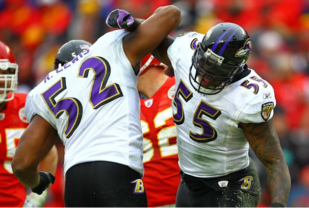 KANSAS CITY, MO - JANUARY 09: Linebackers Ray Lewis #52 and Terrell Suggs #55 of the Baltimore Ravens celebrate a play during their 2011 AFC wild card playoff game against the Kansas City Chiefs at Ar