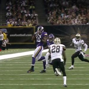 Minnesota Vikings quarterback Teddy Bridgewater 30-yard pass to Jennings