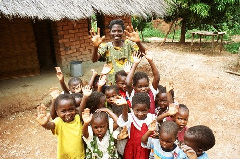 Gertrude Banda and some of her pupils