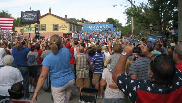President Obama and first lady Michelle Obama in Davenport, Iowa, on Aug. 15, 2012. (Photo by Sean Patrick)