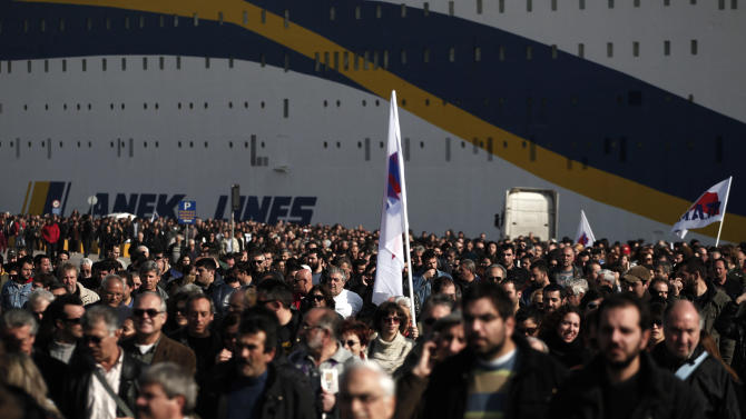 Greek ferries sail as strikers forced back to work