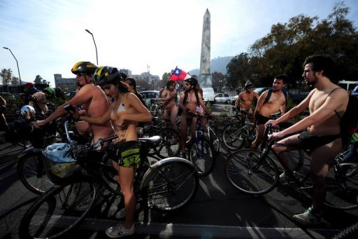 Chilean activists take part in the World Naked Bike Ride, a protest in support of the right of cyclists in Santiago