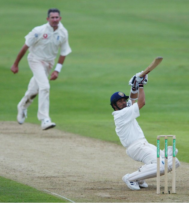 Sachin Tendulka of India hits behind
