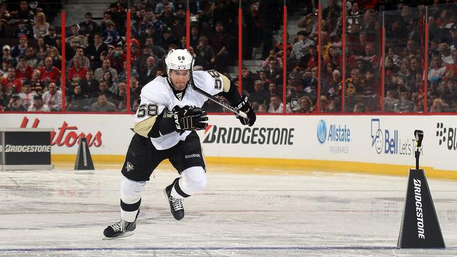 Kris Letang #58 Of The Pittsburgh Penguins And Team Alfredsson Skates Getty Images