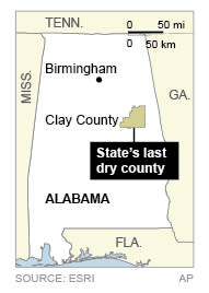Map locates Clay County, Alabama's last dry county