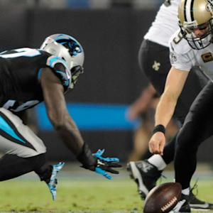 Carolina Panthers recover New Orleans Saints quarterback Drew Brees' fumble