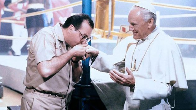 Gene Greytak as Pope John Paul II, right, in 'Hot Shots,' 1991