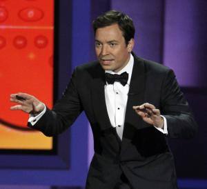"""FILE - In this Aug. 29, 2010 file photo, host Jimmy Fallon presents during the 62nd Primetime Emmy Awards in Los Angeles. Fallon told Matt Lauer on Wed., Aug. 8, 2012 during a """"Today"""" show broadcast, that he was asked to host next year's 85th Academy Awards but declined the gig. (AP Photo/Chris Carlson, File)"""