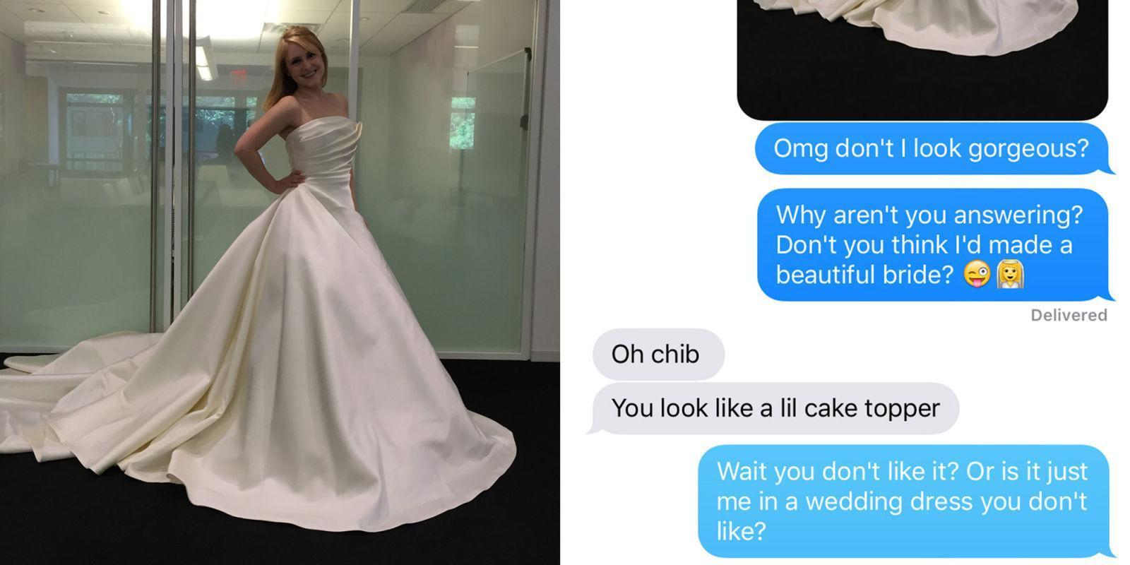 How 13 Boyfriends Reacted When Their Girlfriends Texted Them Pictures of Wedding Dresses