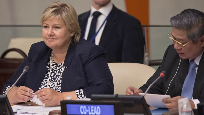 Prime Minister of Norway Erna Solberg and President of Indonesia Susilo Bambang Yudhoyono lead a session focused on 'Forests' during the Climate Summit at the United Nations in New York