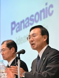 Panasonic&#39;s president Kazuhiro Tsuga answers questions during a press conference to announce the company&#39;s financial results in Tokyo. Panasonic, like rivals Sony and Sharp, which report earnings later Thursday, has suffered in its television business amid falling prices and stiff competition from overseas rivals, while a strong yen has also hit Japanese manufacturers