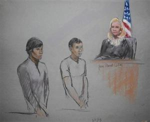 Courtroom sketch of defendants Dias Kadyrbayev and Azamat Tazhayakov appearing in front of Federal Magistrate Marianne Bowler, in Boston