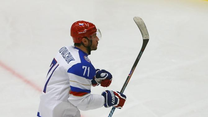 Russia's Kovalchuk celebrates his goal against Slovenia's goaltender Gracnar during their Ice Hockey World Championship game at the CEZ arena in Ostrava